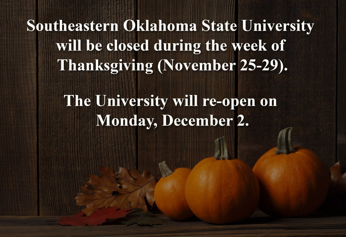 Southeastern closed during Thanksgiving week banner