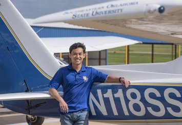 Aviation major Jacob Tran sees stars while  climbing ladder to success at Southeastern Thumbnail