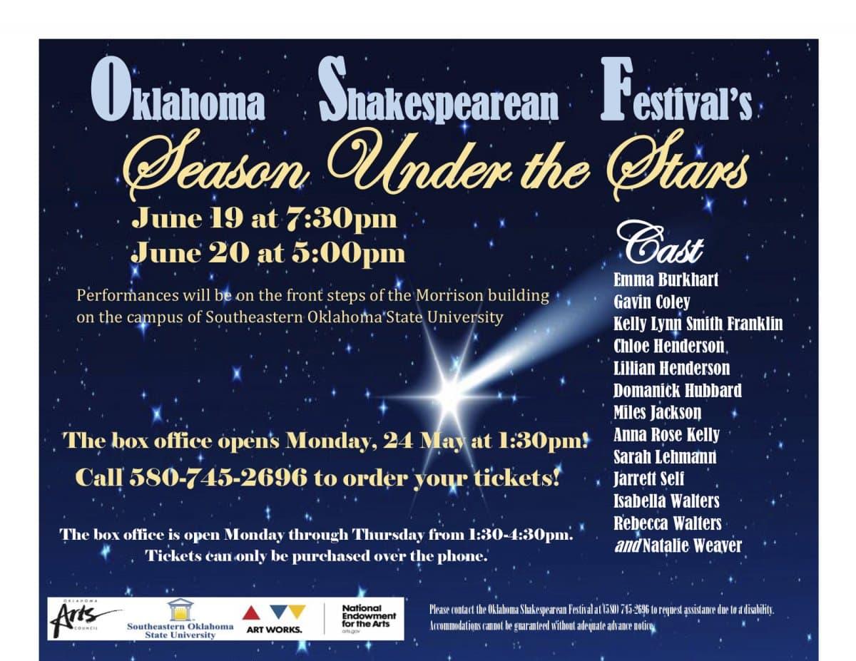 Oklahoma Shakespearean Festival's Season Under the Stars banner