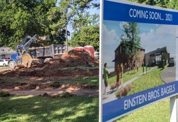 Preliminary construction work starts on Einstein Bros. Bagels near campus Thumbnail